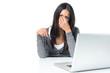 canvas print picture - Frau mit Brille im Büro reibt sich die Augen