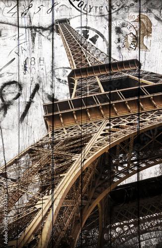 fototapeta na ścianę Tour Eiffel legno cartolina rocznika