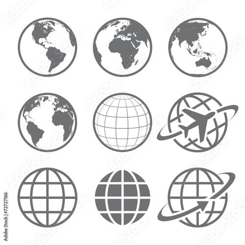 Fotografie, Obraz  Earth globe Icon set
