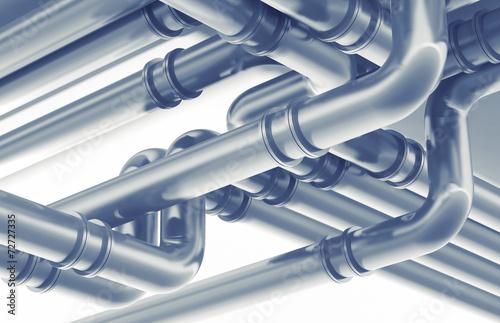 Foto Modern industrial metal pipeline fragment. 3d render