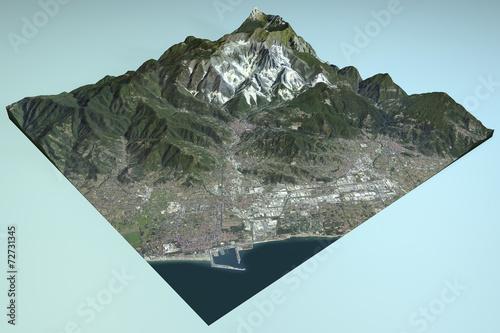 Carrara, vista satellitare, mappa, sezione, Toscana Italia Canvas Print