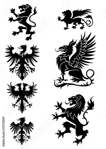 Photo  Heraldry ornament set