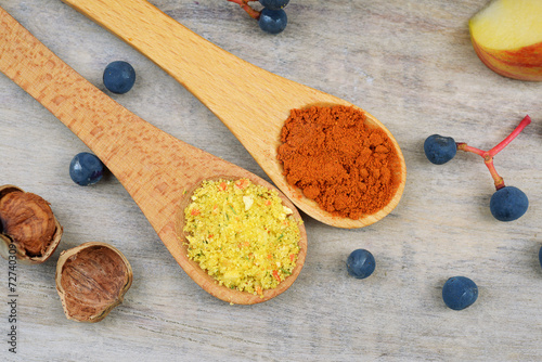 Photo  Spices in wooden spoons