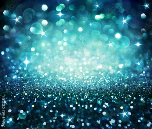 Fototapeta christmas background - shining glitter - blue obraz na płótnie