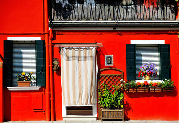 Panel SzklanyVenice, Burano island, painted red house, Italy