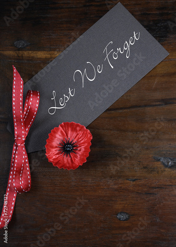 Lest We Forget Poppy Lapel Pin Badge - Buy this stock photo and