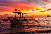 Sail Boat At Sunset Sea, Borac...