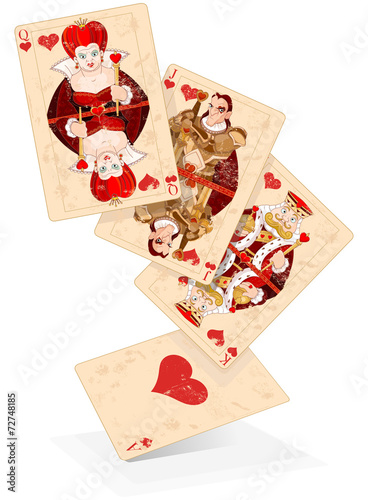 Poster Magie Hearts play cards