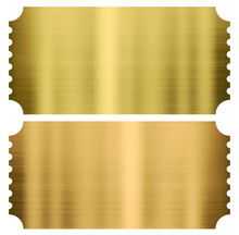 Gold Cinema Or Theather Tickets Set Isolated