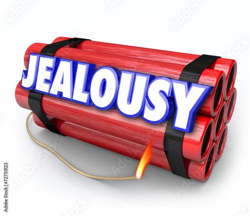 Photo Jealousy Word Envy Resentment Time Bomb Explosive Anger Danger