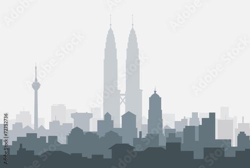 Kuala Lumpur Morning Skyline-Vector Wallpaper Mural