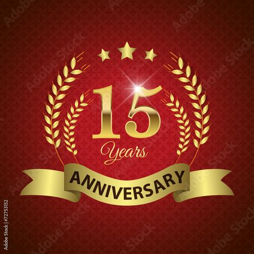 фотография  Celebrating 15 Years Anniversary, Golden Laurel Wreath & Ribbon