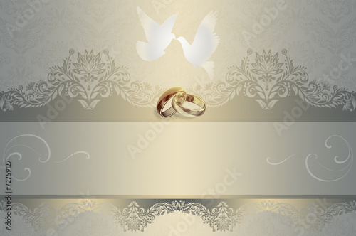 Wedding Invitation Background With White Doves And Gold