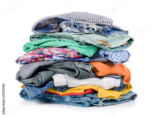 Cuadros en Lienzo pile of clothing isolated on white