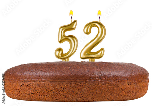 Poster  birthday cake with candles number 52 isolated