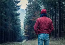 Sad Man Walking By Forest