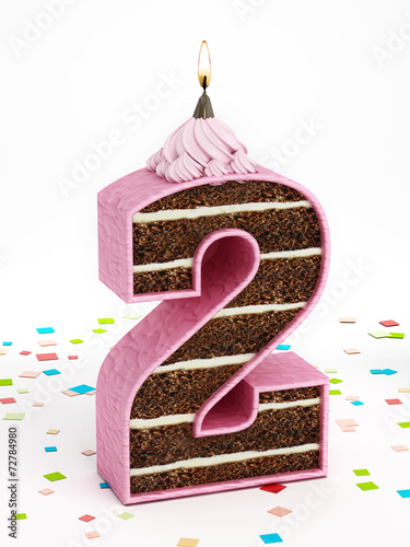 Number 2 Shaped Chocolate Birthday Cake With Lit Candle