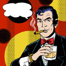 Pop Art Man With Glass Smoking...