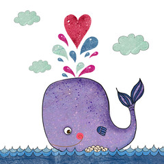 Plakat Cartoon illustration with whale and red heart.