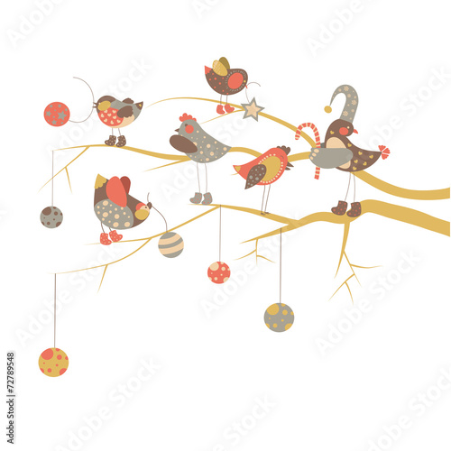 Cadres-photo bureau Cartoon voitures Birds celebrate Christmas
