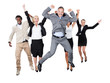 Successful Business Team With Arms Raised Over White Background