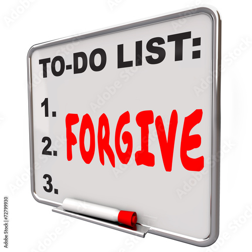 Forgive Word Written To Do List Board Grace Absolve Excuse Forge Canvas Print