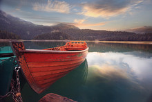 Wooden Boat On A Mooring Mount...