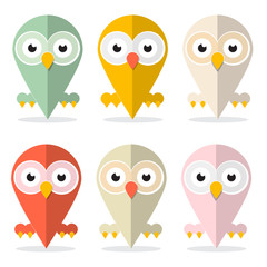 Plakat Vector Owls Set Illustration Isolated on White Background