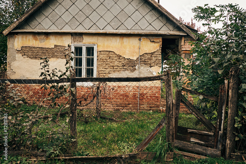 Deurstickers Retro Old village house