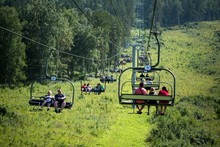 The Ski Lift In The Altai Mountains