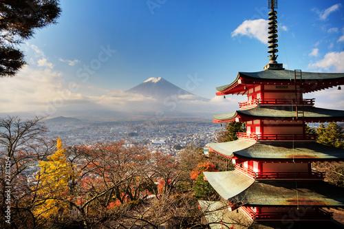Plakat Mt. Fuji z kolorami upadku w Japonii.