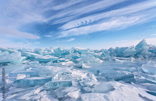 Photo  Ice hummocks at Lake Baikal