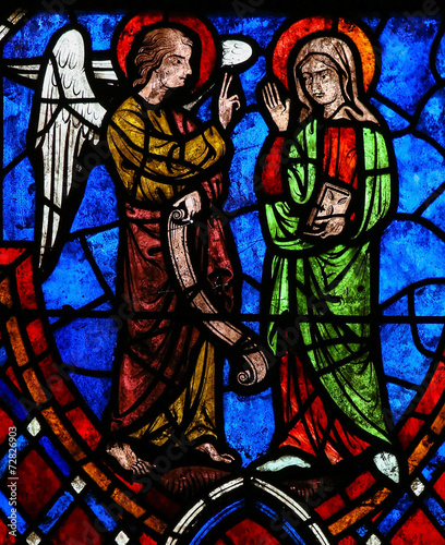 Obraz na płótnie The Annunciation Stained Glass in Cathedral of Tours, France