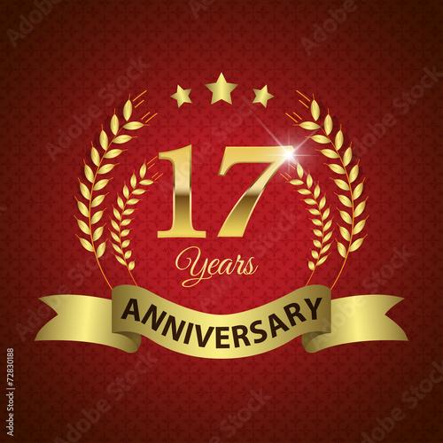 Платно  Celebrating 17 Years Anniversary, Golden Laurel Wreath & Ribbon