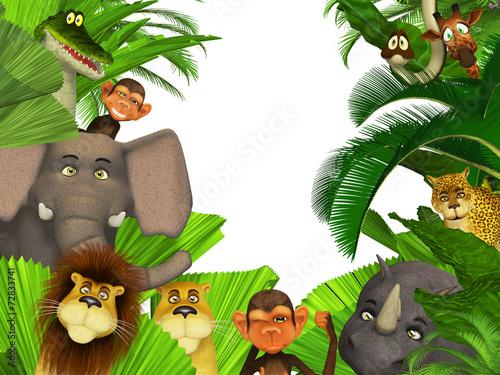 Foto op Aluminium Zoo jungle animals border