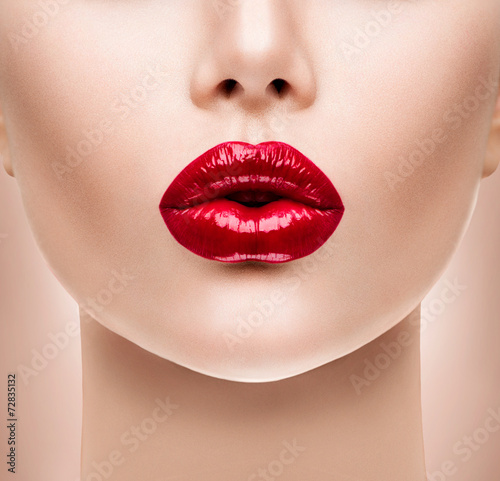 Poster - Sexy Red Lips. Beauty Model Woman's Face closeup