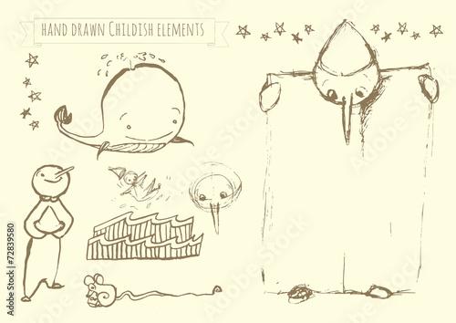 Stampa su Tela Hand drawn vector kid elements: Pinocchio doodles
