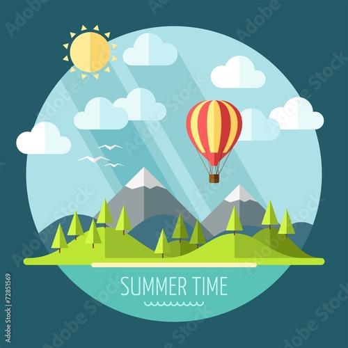 Cadres-photo bureau Bleu vert Summer landscape in flat style - vector illustration