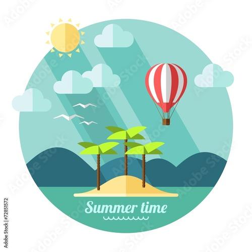 Cadres-photo bureau Bleu vert Summer landscape in flat style