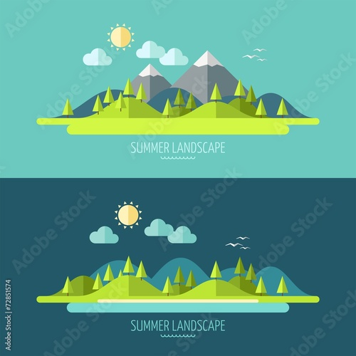 Aluminium Prints Green blue Flat design nature landscape