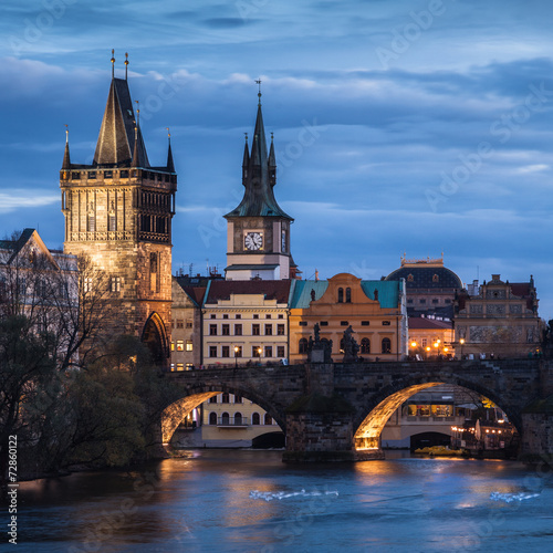 Poster Praag Charles Bridge in Prague at sunset