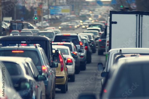 Stampa su Tela traffic jams in the city, road, rush hour