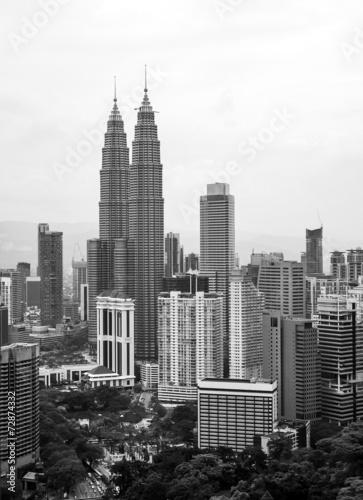 Photo City of Kuala Lumpur in black and white