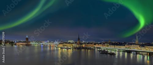 Photo  Stockholm Panorama bei Nacht mit NOrdlicht