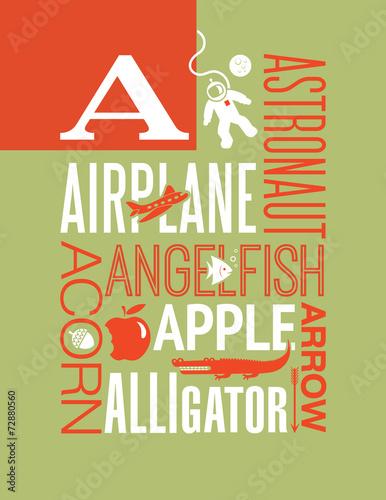 Fotografia, Obraz  Letter A words typography illustration alphabet poster design