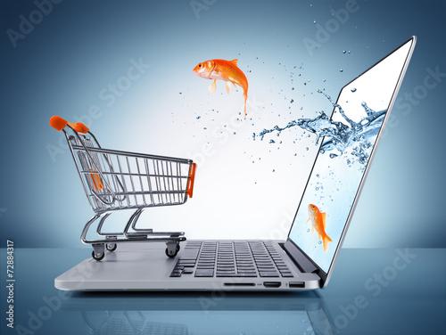 Photo  goldfish in cart - e-commerce concept