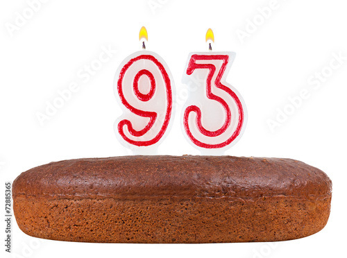 Fotografie, Obraz  birthday cake candles number 93 isolated