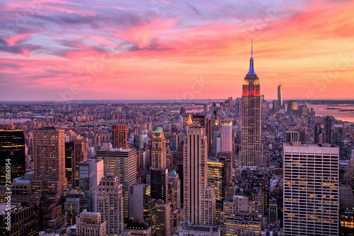 Fotografia  New York City Midtown with Empire State Building at Sunset