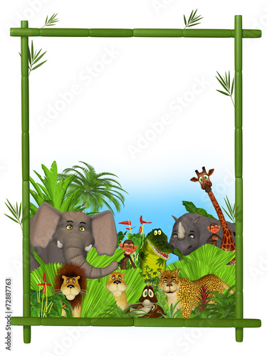 Foto op Aluminium Zoo Wild cartoon animals frame