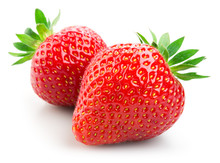 Two Strawberries Isolated On W...